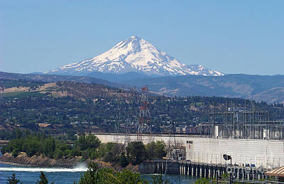 Columbia River Photograph - Mt Hood And The Dalles Dam by Charles Robinson