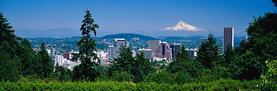 City Center Photograph - Mt Hood Portland Oregon Usa by Panoramic Images