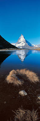 Reflections Of Sky In Water Photograph - Mt Matterhorn & Riffel Lake Switzerland by Panoramic Images