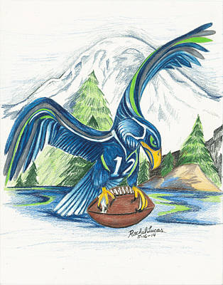 Seattle Drawing - Mt Rainer And The Seahawk by Rachel Lucas-Bertsch