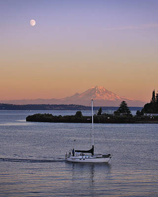Sailboats Photograph - Mt. Rainier Afterglow by Adam Romanowicz