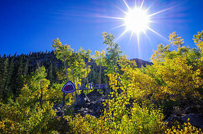 Aspen Tree Fall Colors Photograph - Mt. Rose Fall Color Sunburst by Scott McGuire