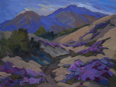 Verbena Painting - Mt. San Jacinto And Desert Verbena by Diane McClary