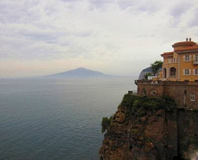 Mt Vesuvius From Sorrento At Dusk Print by Marilyn Dunlap