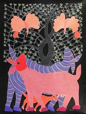 Gond Tribal Art Painting - Mu 80 by Mangru Uikey
