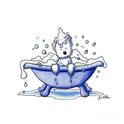 Westie Terrier Drawing - Muggles Bubble Bath by Kim Niles
