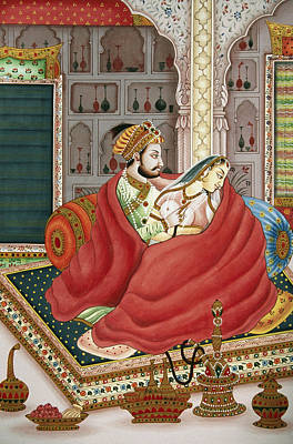 Raja Painting - Mughal Emperor And Empress by Dinodia
