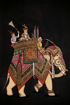Raja Painting - Shah Jahan Riding Elephant by Dinodia