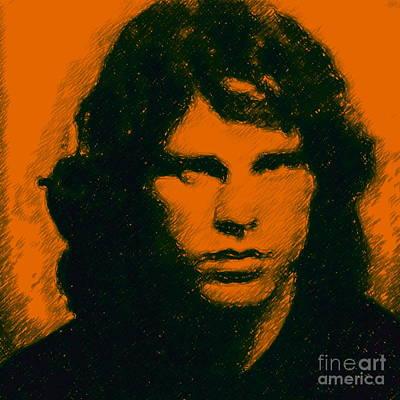 Mugshot Jim Morrison Square Print by Wingsdomain Art and Photography