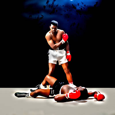 Joe Frazier Digital Art - Muhammad Ali Get Up And Fight Sucker by Brian Reaves