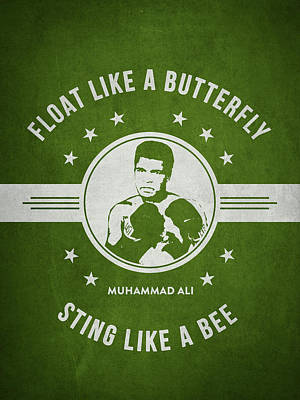 Cassius Clay Drawing - Muhammad Ali - Green by Aged Pixel