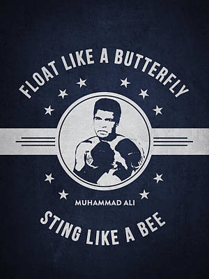 Heavyweight Drawing - Muhammad Ali - Navy Blue by Aged Pixel