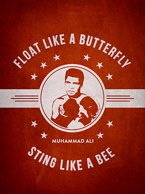 Heavyweight Drawing - Muhammad Ali - Red by Aged Pixel