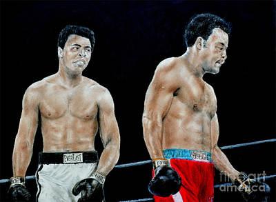 Champion Mixed Media - Muhammad Ali Vs George Foreman by Jim Fitzpatrick