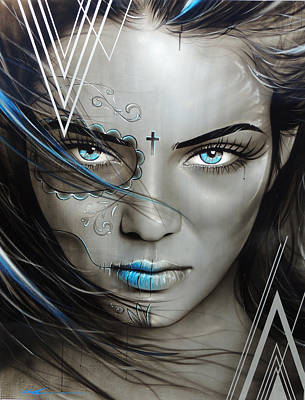 Fine Art Of Women Painting - Sugar Skull - 'mujeres De Ojos Azules' by Christian Chapman Art
