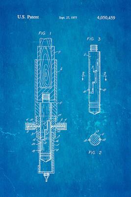 Multi Drug Vetinary Hypodermic Syringe Patent Art 1977 Blueprint Print by Ian Monk