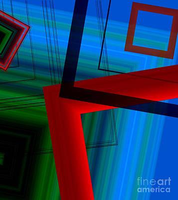 Multicolor Geometric Shapes In Digital Art Print by Mario Perez
