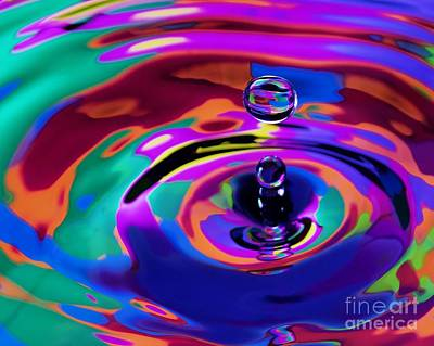 Multicolor Water Droplets 1 Print by Imani  Morales