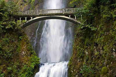 Waterfall Photograph - Multnomah Falls And Benson Footbridge by Loree Johnson