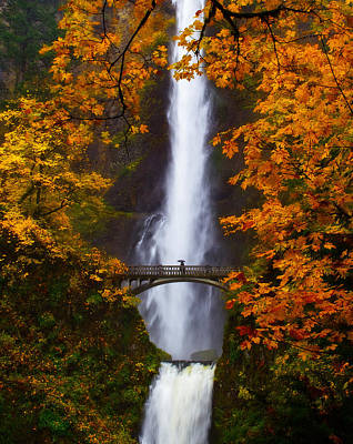 Fall Leaves Photograph - Multnomah Falls Color by Darren  White
