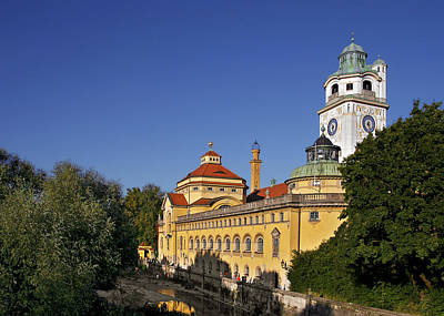 Blue Photograph - Munich - Mueller'sches Volksbad - Au-haidhausen by Christine Till