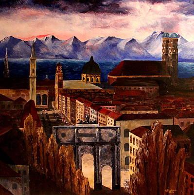 Munich With Leopoldstreet Siegestor And Alps Original by M Bleichner