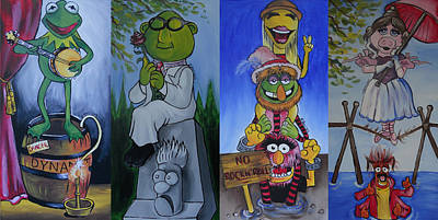 Muppets Painting - Muppets Haunted Mansion Stretching Room Portraits by Lisa Leeman