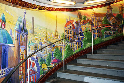 Mural In The Paris Metro Print by Kathy Yates