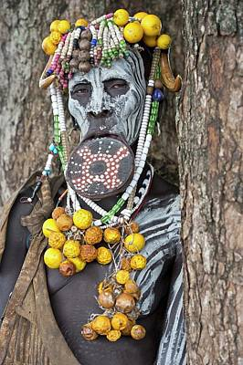 African People Photograph - Mursi Woman With Lip Plate And Body Art by Tony Camacho