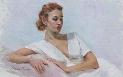 Earrings Painting - Muse In White by Anna Rose Bain