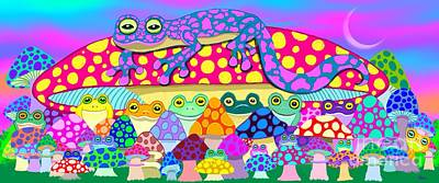 Salamanders Digital Art - Mushroom Meadow Frogs by Nick Gustafson