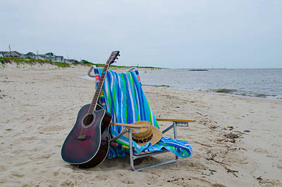 Acoustic Guitar Digital Art - Music By The Sea by Bill Cannon