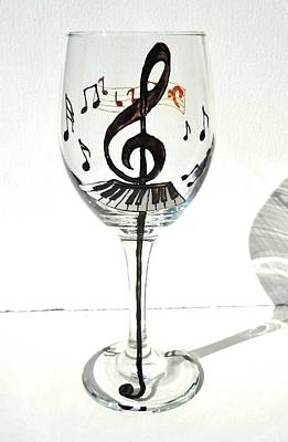 Hand Painted Glasses Glass Art - Music Glass by Pauline Ross