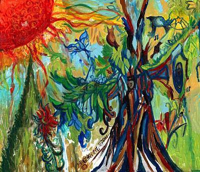 Healing Art Painting - Music In Bird Of Tree by Genevieve Esson