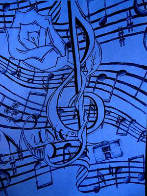 Creativity Drawing - Music In Blue by Madelyn May