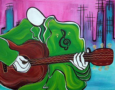 Musical Instruments Painting - Music Man by Laura Barbosa