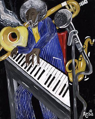 Pinstripes Painting - Music Man by Reba Baptist