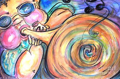 Caricature Artist Painting - Music Music Music by M C Sturman