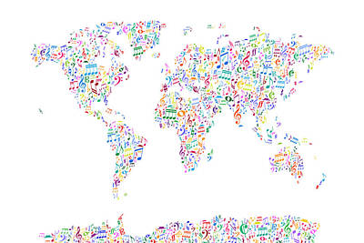 Map Of The World Digital Art - Music Notes Map Of The World by Michael Tompsett