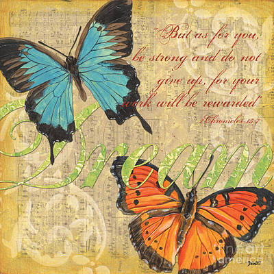 Aged Painting - Musical Butterflies 1 by Debbie DeWitt