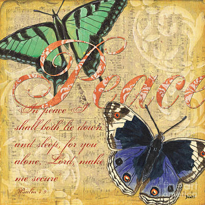 Peace Painting - Musical Butterflies 2 by Debbie DeWitt