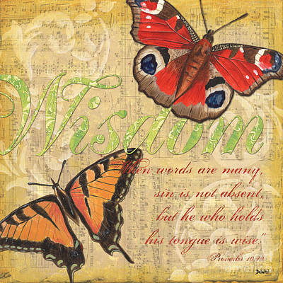 Scripture Mixed Media - Musical Butterflies 4 by Debbie DeWitt