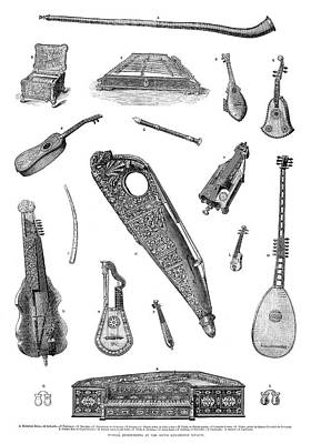 Musical Instruments, 1870 Print by Granger