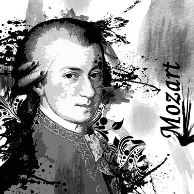 Musical Digital Art - Musical Masters - Mozart by Joshua Wood