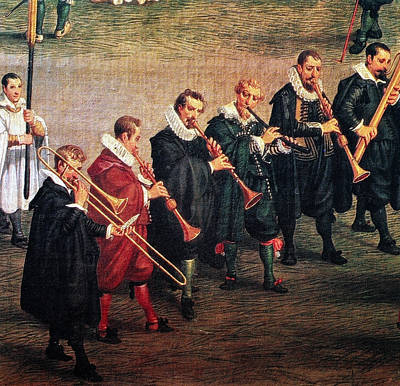 Musicians, C1600 Print by Granger