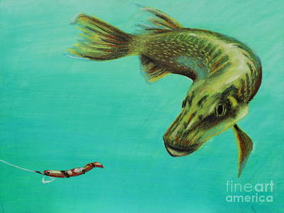 Fish Painting - Muskie And The Lure by Jeanne Fischer