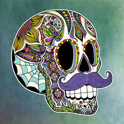 Ink Drawing - Mustache Sugar Skull by Tammy Wetzel