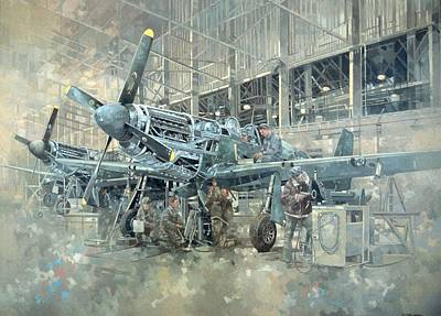 Airplane Painting - Mustang At Warton by Peter Miller