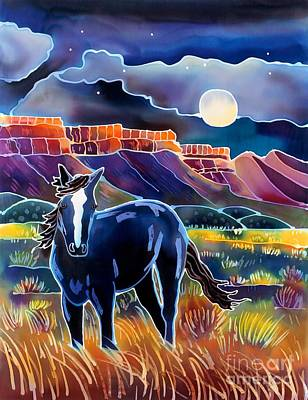 Nature Batik Painting - Mustang In The Moonlight by Harriet Peck Taylor
