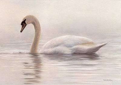 Swan Painting - Mute Swan Painting by Rachel Stribbling